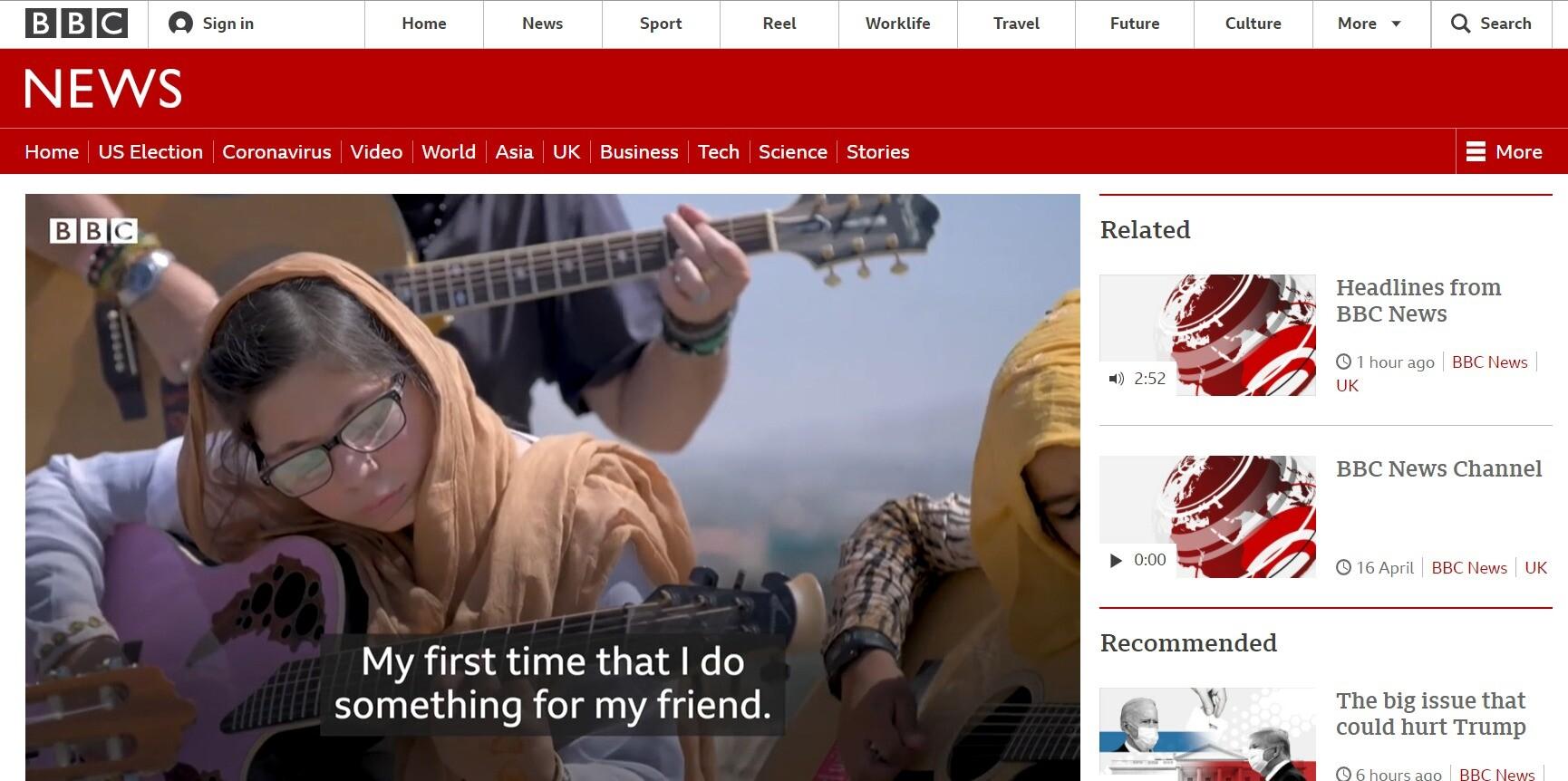 BBCニュースの動画と字幕