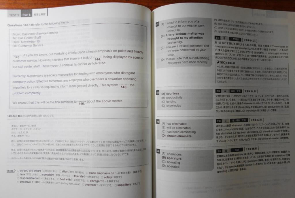 パート6の例文・全訳と解答・解説