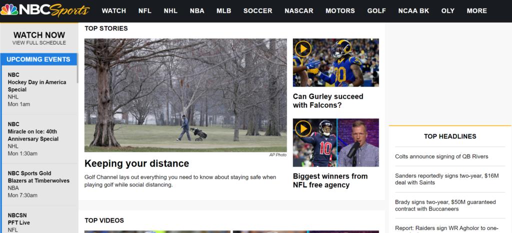 NBC Sportsのトップページ