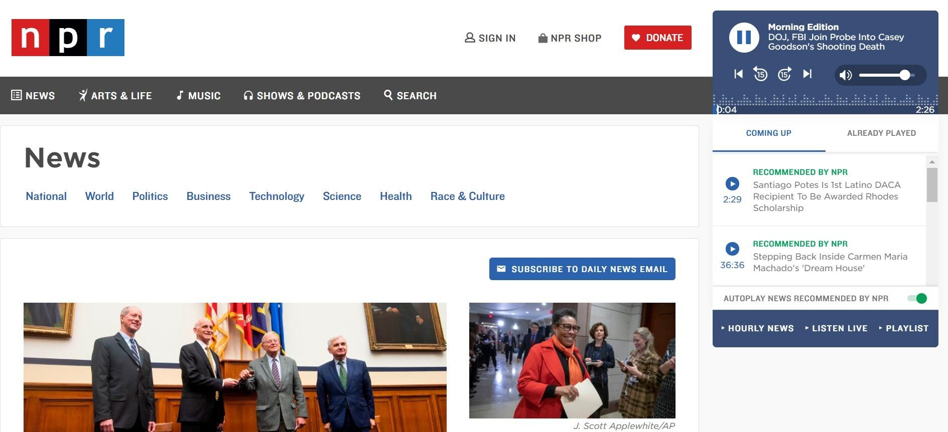 NPRのトップページ