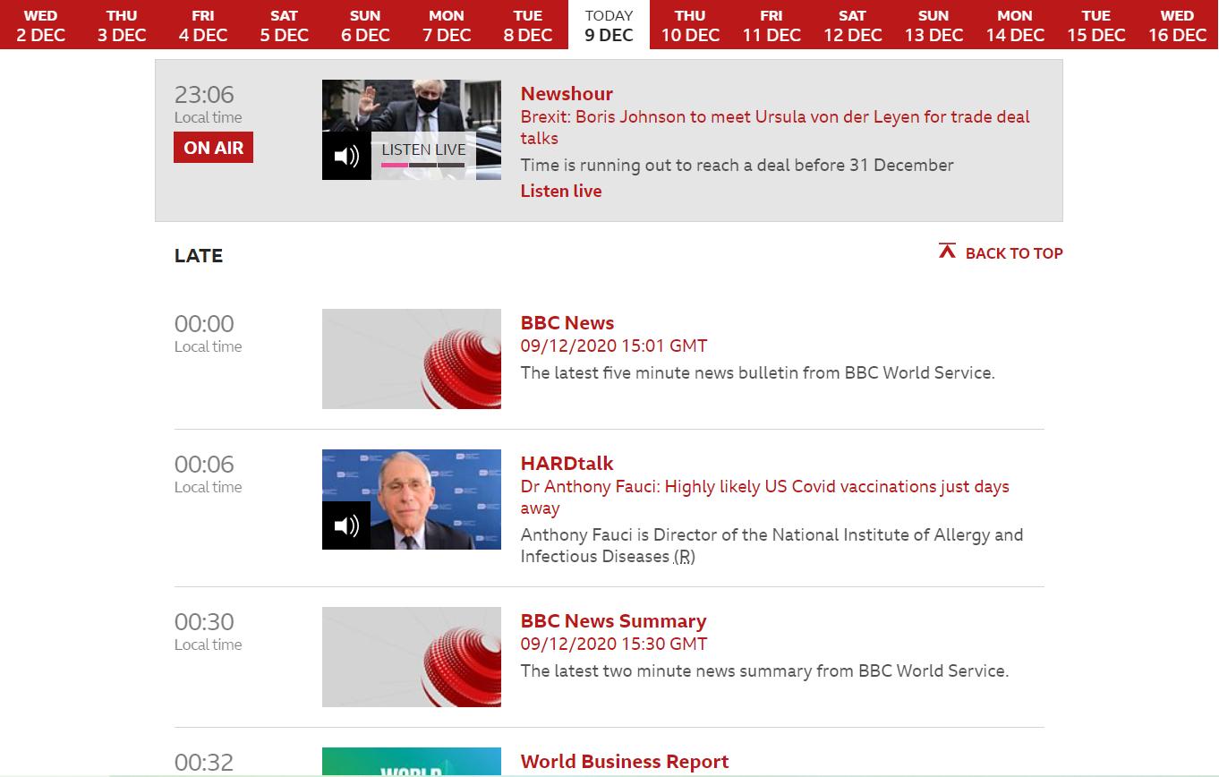 BBCニュースの生放送スケジュール
