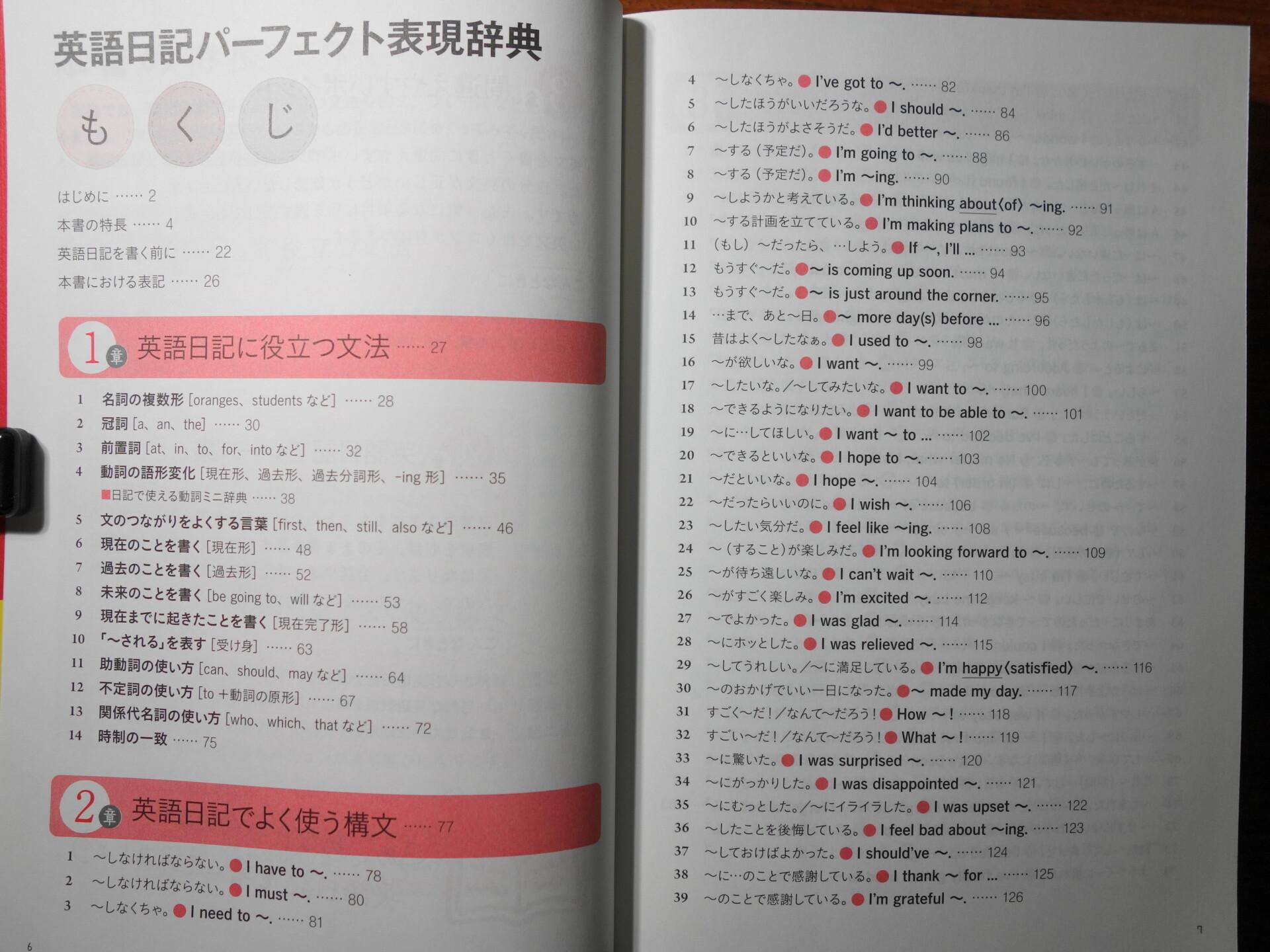 英語日記パーフェクト表現辞典のもくじ